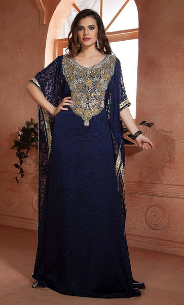 Dark Blue Net Brasso  Handmade Arabian Design Kaftan-Final sale