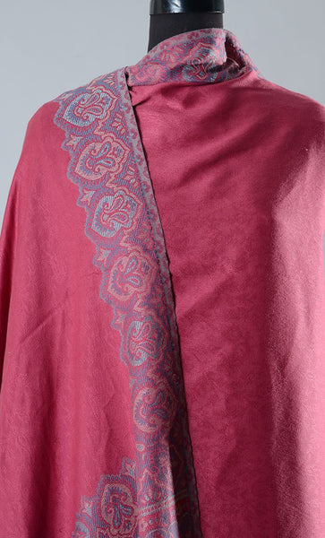 Pink Plain Border Pashmina Shawl- Final Sale Item_As Pictured_Front_View