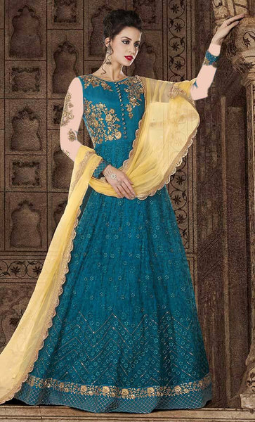 Allover Floral Resham Chain Stitch Flared gown dress-final sale item_As Pictured_Front_View