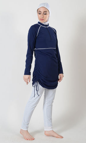 Navy Side Ruche Swimwear Burkini - Final Sale Item_As Pictured_Front_View