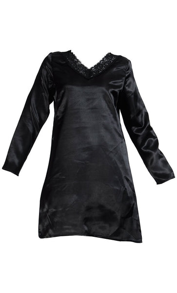 Lace Long Sleeve Satin Under Dress Slip Top- Long Length - Final Sale_Black_Front_View