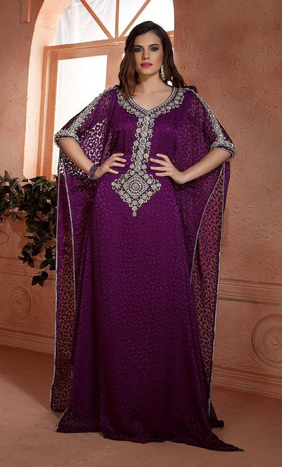 Scintillating Fuchsia Hand beaded Free Size Arabian Design Kaftan-Final sale