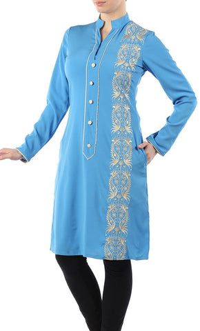 Embroidered Gold Mandarin Tunic_Light Blue (Out of stock)_Front_View