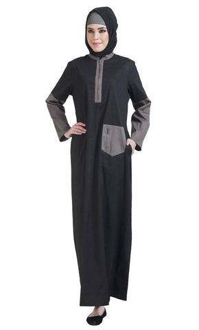 Basic Color Block Utility Abaya_Baby Pink_Front_View