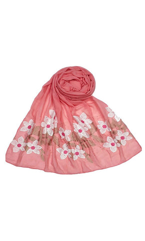 Coral floral Embroidery work hijab-final sale