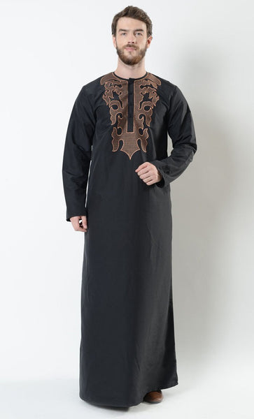 Fire Embroidered Men's Thobe_Black_Front_View