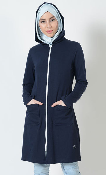EE Sport White Zipper Activewear Hoodie_Navy_Front_View