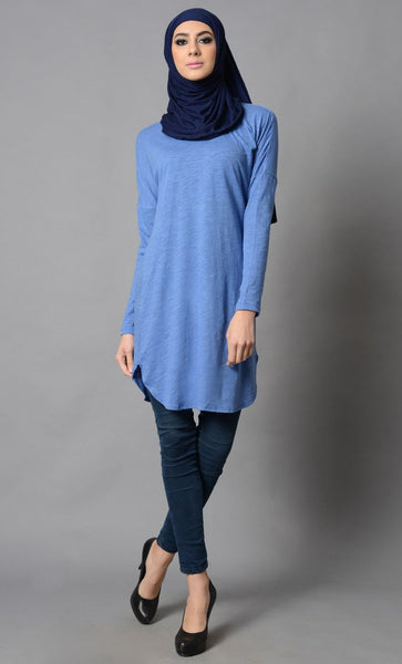 Blue Cotton Tunic-Final Sale Item_Baby Blue_Front_View