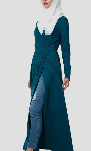 Basic Wrap Around Jersey Shrug Dress - Teal_Teal(Out of stock)_Front_View