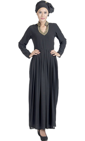 Double Layer pleated Black Georgette Abaya Evening Dress_Black_Front_View