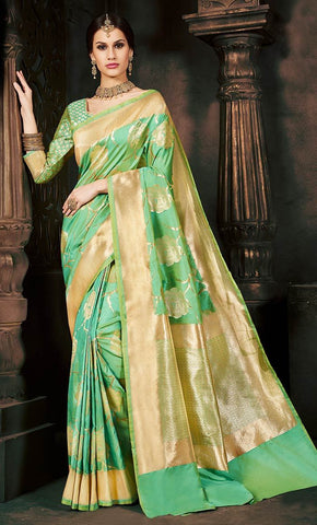 Green Allover Traditional Jacquard Weaving With Short Pallu - Final Sale_Front_View