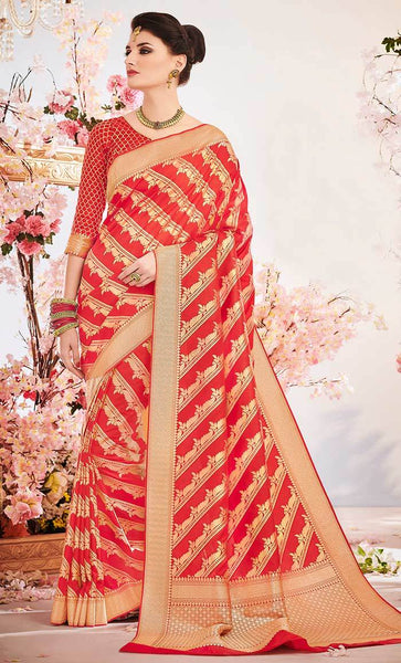 Jacquard Weaving Designer Red saree_Front_View