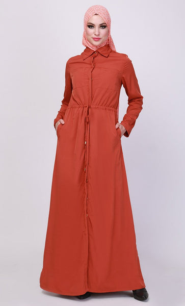 Crepe Button open solid Abaya-Final sale