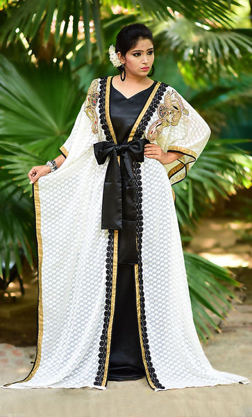 Impressive Black & Off White Jacket Style Brasso Kaftan-Final Sale - As Pictured_As Pictured_Front_View