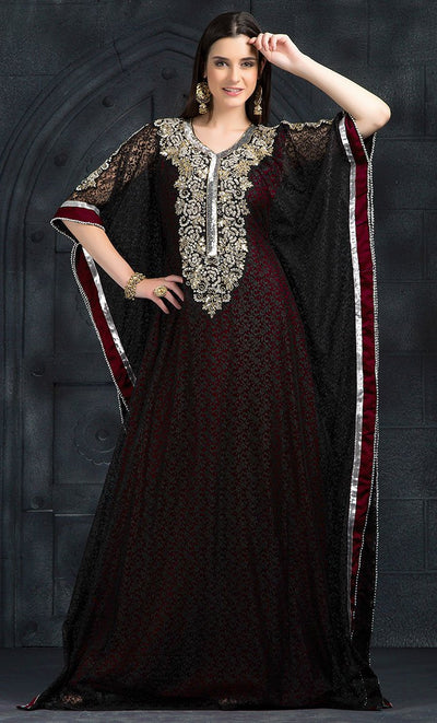 Red & Maroon Color Kaftan-Georgette Kaftan-Final Sale_As Pictured_Front_View