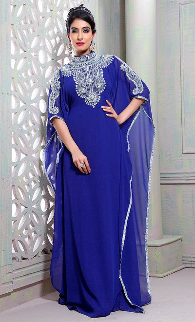 Chic Blue Color Designer Hand Crafted Kaftan-Final Sale_As Pictured_Front_View