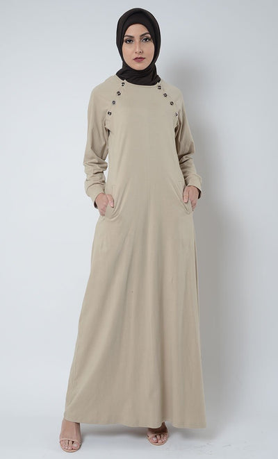 Shoulder Button Jersey Abaya - Sand