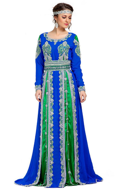 Contemporary Smart Blue & Green Moroccan Elegant Kaftan-Final Sale_As Pictured_Front_View
