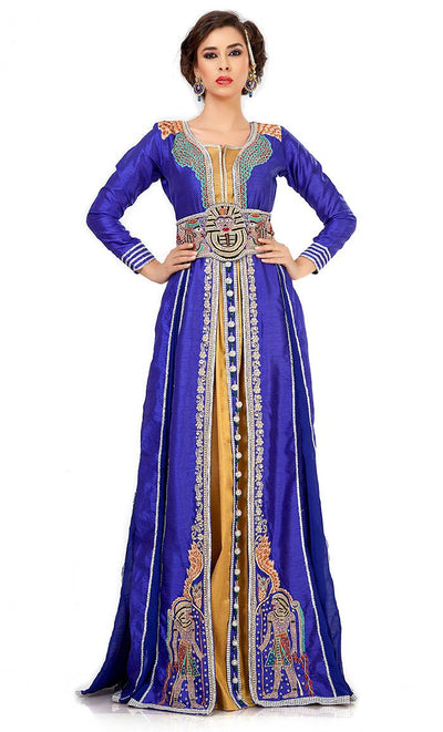 Effective Blue & Gold Color Jacket Style Moroccan Embroidered Wedding Kaftan-Final Sale_As Pictured_Front_View