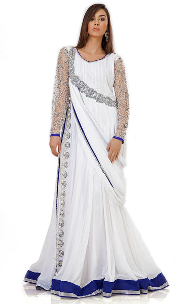 Elegance White & Blue Embroidered Designer Kaftan-Final Sale_As Pictured_Front_View