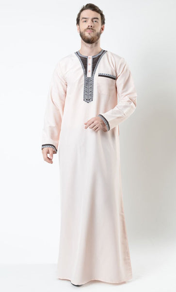 Rami Men's Moroccan Gold Embroidered Thobe_Light Pink_Front_View