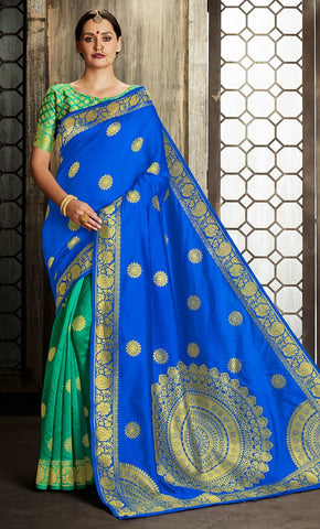 Royal Blue & Teal Green Traditional Allover Jacquard Weaving Design Saree - Final Sale Item_Front_View