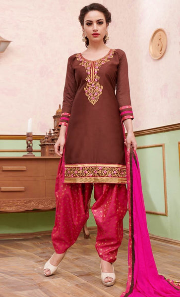 Elegant Contrast Floral Silk Thread embroidery Shalwar Kameez_As Pictured_Front_View