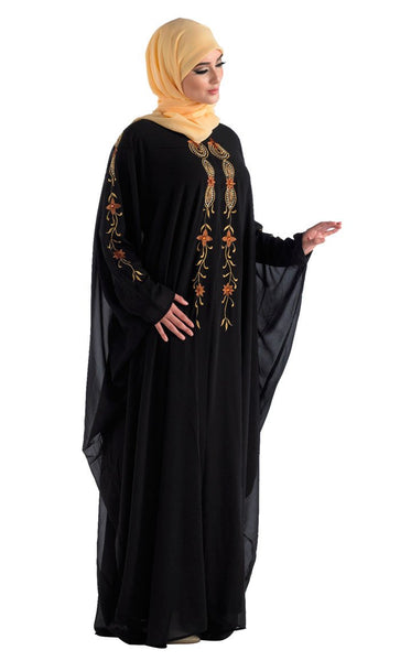 Hand Embroidered Black Kaftan for Celebrations_Black_Front_View