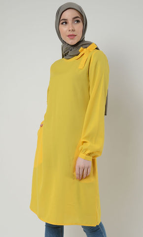 Bow Tie Tunic-Yellow_Yellow (Out of stock)_Front_View