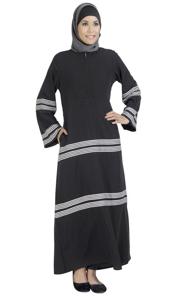 Stripe Center Zip Abaya_As Pictured_Front_View