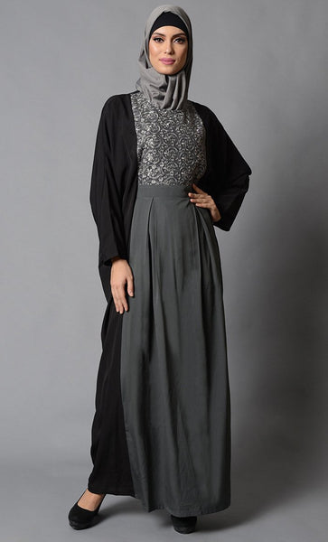 Color Block Grey & Black Kaftan with Box pleats Details_Grey (out of stock)_Front_View