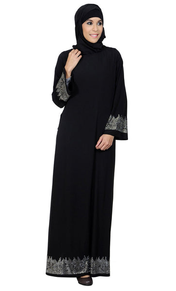 Double Layered Shimmer Accent Arabic Crystal Abayas_Black_Front_View