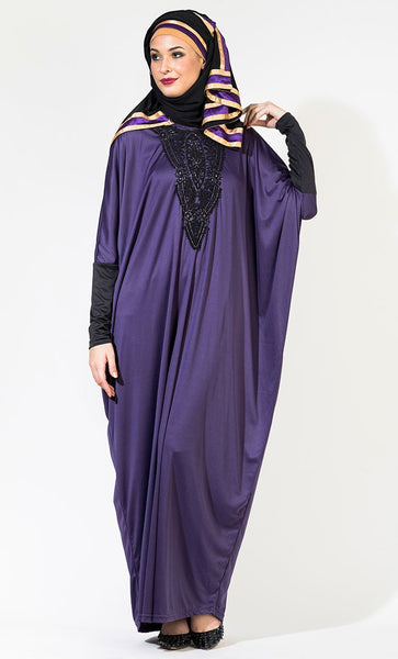 Crocheted Abaya Kaftan-Purple_Purple(Out Of Stock)_Front_View