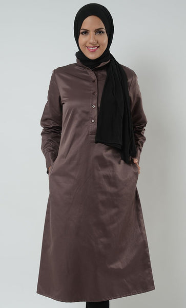 Korean Twill Extra Long Manadarin Tunic_Dark Brown_Front_View
