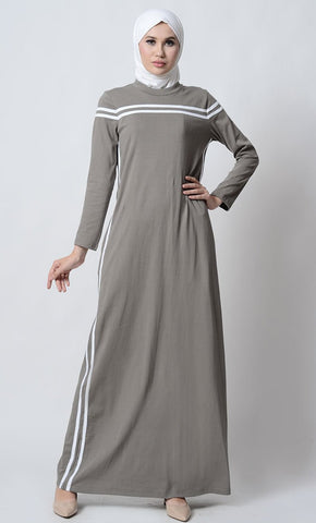 Round neck cotton sports abaya dress_Dark Grey_Front_View