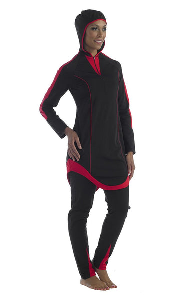 Poly knit Red and black swimwear hood attached - Final Sale_As Pictured_Front_View