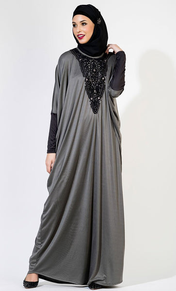 Crocheted Abaya Kaftan-Grey_Grey(Out Of Stock)_Front_View