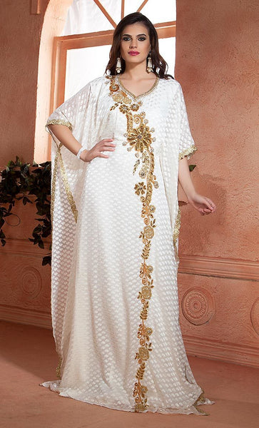 Off White  Handmade Free Size Kaftan-Final sale
