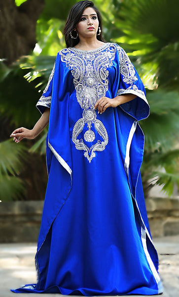 Blue Color Modern Silk Arabic Kaftan-One Size-Final Sale_As Pictured_Front_View