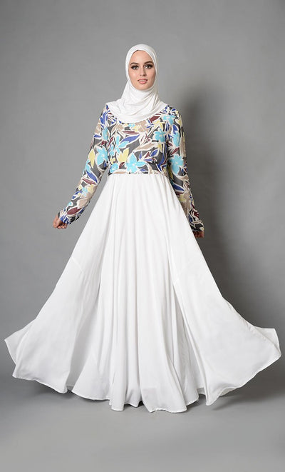 City Print Ivory Fully Lined Modest Abaya Dress