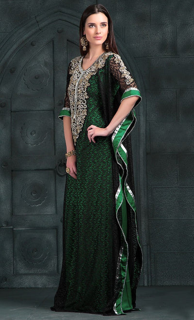 Black & Green Color Kaftan-Georgette Kaftan-Final Sale_As Pictured_Front_View