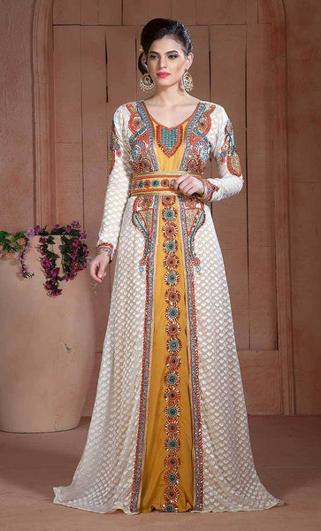Off White and Golden Color Moroccan Hand beaded Kaftan-Final sale