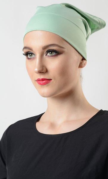 Pastel Green Poly Knit Hijab Cap