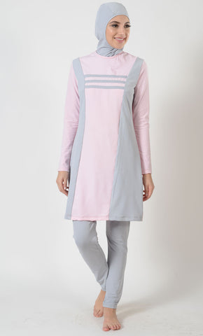 Pink Grey Swimwear Burkini-Final Sale_As Pictured_Front_View