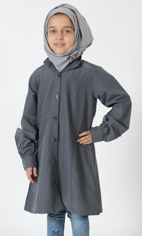 Girls Uniform Button Down Tunic_Dark Grey_Front_View