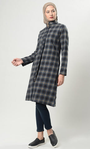 Bold Plaids Front Zipper Jacket