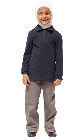 Girls Cotton Long Sleeve Uniform Polo Shirt_Navy_Front_View