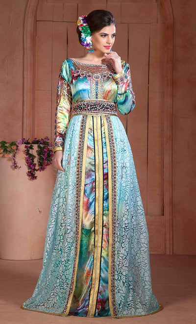Beautiful Aquea Blue Print Embroidered Hand beaded Kaftan-Final sale