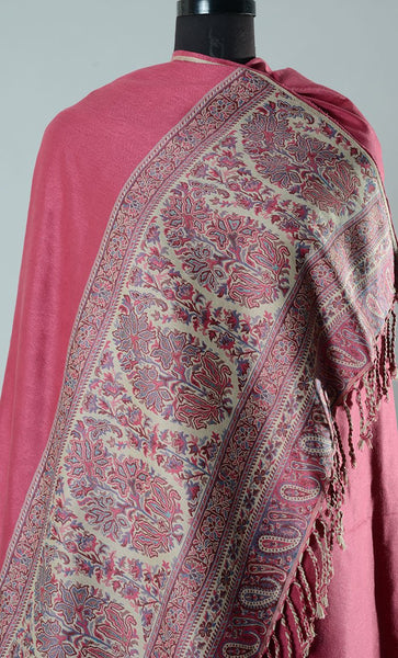 Pink Afreen Broad Border Pashmina Shawl- Final Sale Item_As Pictured_Front_View