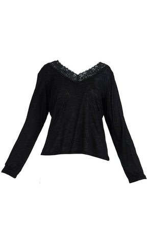 Lace Long Sleeve Viscose Knit Under Dress Slip Top- Short Length - Final Sale_Black_Front_View